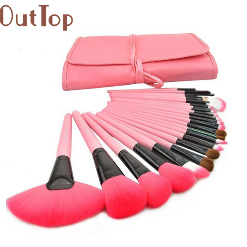OutTop Makeup Artist Brush Pro 24Pcs Pouch Bag Case Superior Soft Cosmetic Makeup Brush Set Kit make up brush 18feb26