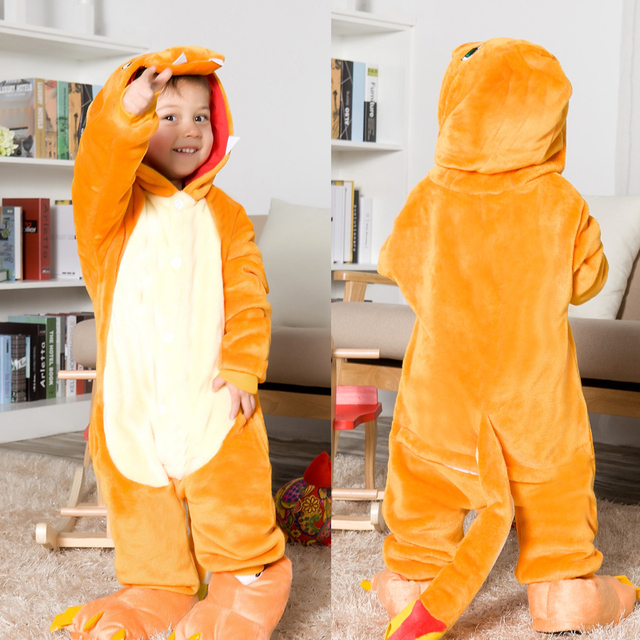 Pokemon Charmander Cosplay Jumpsuit Costume Kids Clothing Flannel Blanket  Sleeper Boy Girl One Piece Pajamas Halloween Carnival 31c559ed3