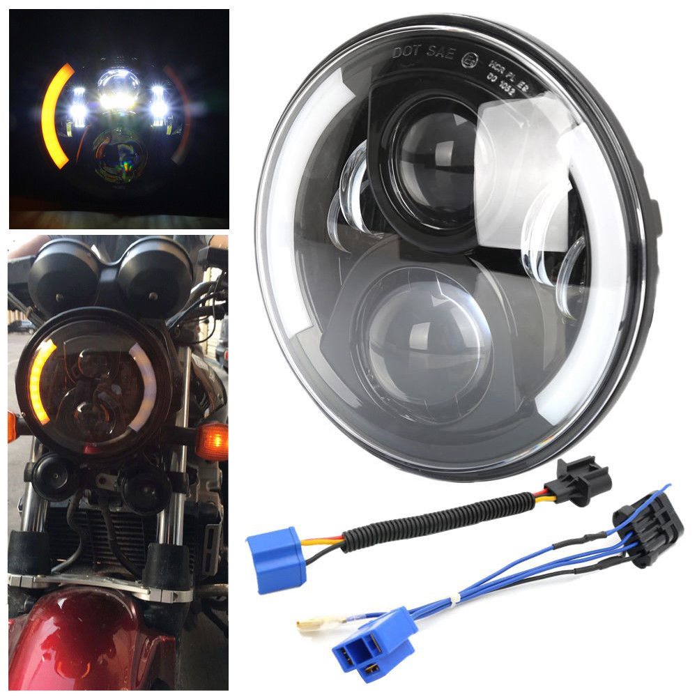 7 LED Motorcycle Headlamp With Left Turn Signal Right Turn Signal Function For Harley Daivdson Motorcycle Glide Street