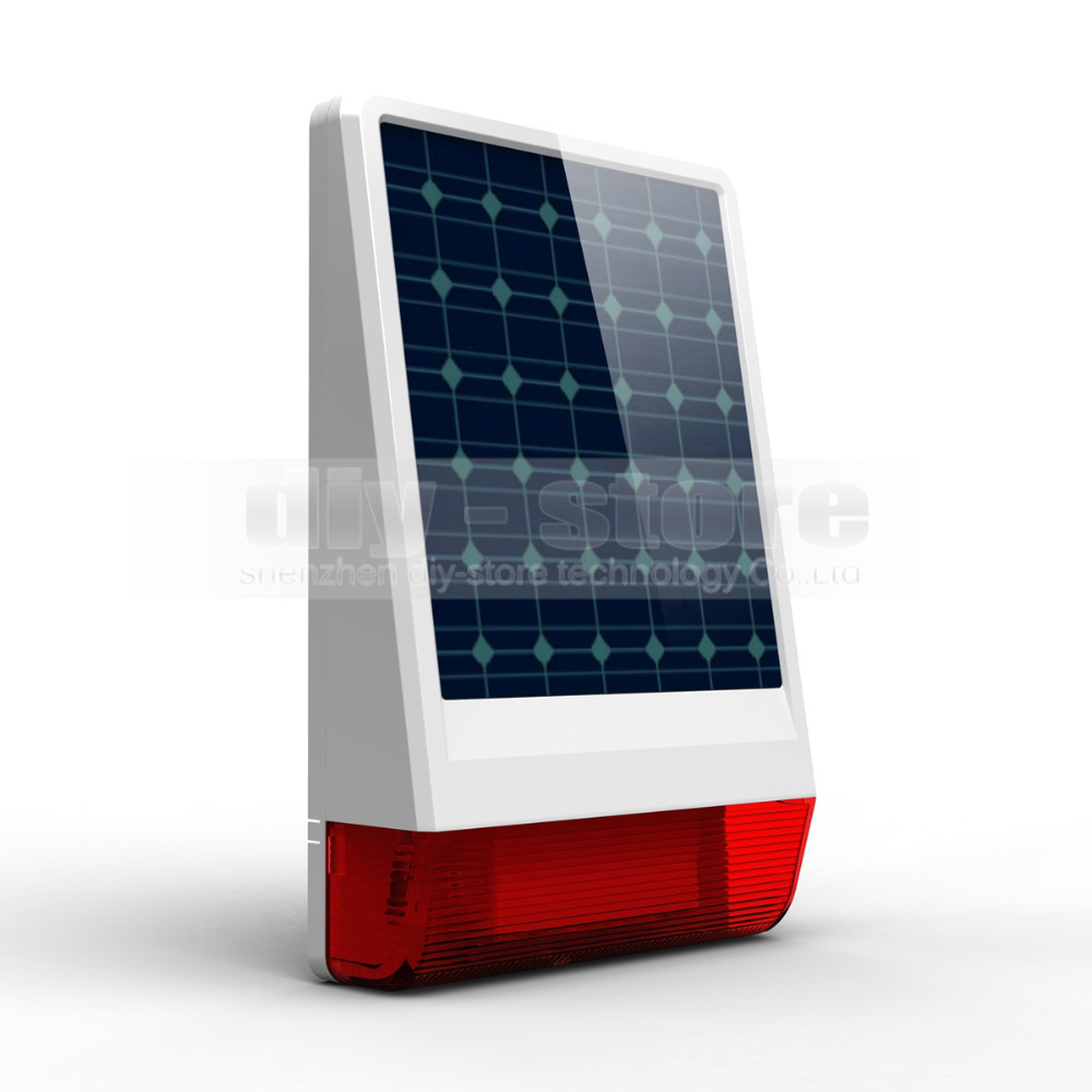 DIYSECUR Waterproof Wireless Outdoor Big Strobe Solar Powered Siren Alarm + LED Flashing for Home Alarm System