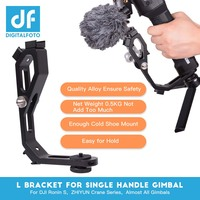 L bracket with 3 hot shoe mount Handle magic arm for gimbal attach monitor Mic zhiyun crane 2/MOZA/feiyu/Dji Ronin S accessories