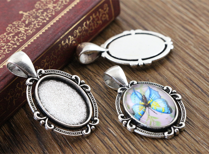6pcs 13x18mm Inner Size Antique Silver Flower Classic Style Cameo Cabochon Base Setting Pendant necklace findings  (D4-42)