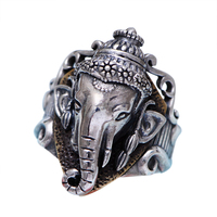 100% Real Pure 925 Sterling Silver Ganesha Rings For Men Vintage Style India Elephant With Crown Animal Male Jewelry