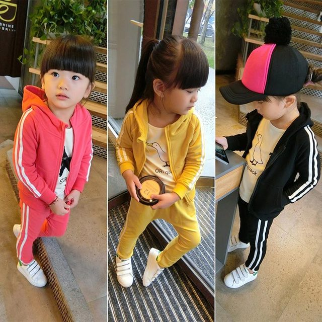 2016 New Spring Children Girls Boys Sports Suits Hooded Jacket + Sport Pants Kids Baby Leisure Set 3 Color good quality 1603