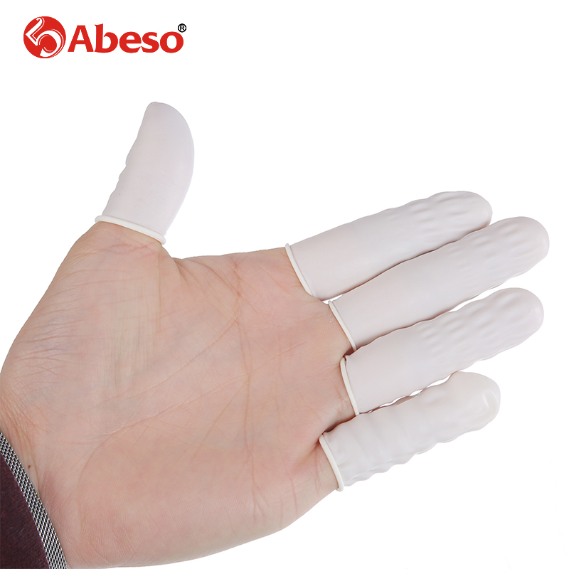 100/1000PCs ABESO Antistatic durable white latex finger cots safety gloves antislip for chalk Electronic finger cots A7212 100pcs protective antislip fingertips gloves latex rubber finger cots antistatic gloves workplace safety supplies