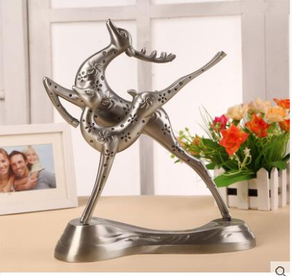 European Metal crafts double Deers with deer head statues for decoration home decoration accessories A31