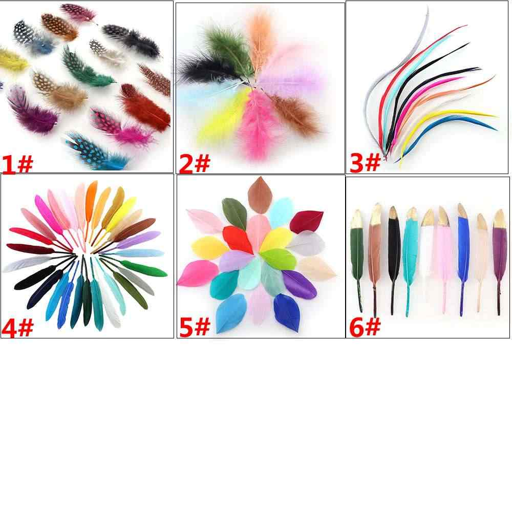 Random Mix Colorful Dyed DIY Natural Goose/Turkey/Pheasant Feathers For Home Decor Earrings Jewelry Clothing Accessories