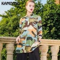 KAMIYING дышащие женские кимоно сетки Шелковый кардиган оригинальный Фирменная новинка дизайн женская блузка туника с рукавами три четверти De