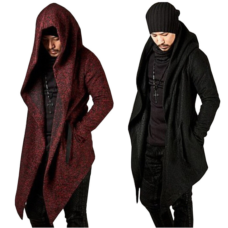 Man's Long Sleeve Solid Hoodie Irregular Hem Male Cardigan Sweatershirt Coat Hip Pop Hipster Tops Hooded Streetwear Homme Hoodie