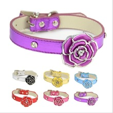 (1 pieces / lot) Leather Dog Collar Pink Red Blue Gold Purple Sliver Soft PU Material Plastic Flower dog collar