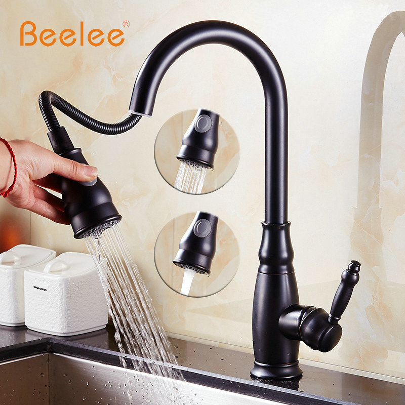 Beelee Kitchen Faucet All Around Rotate Swivel 2-Function Water Outlet Pull Swivel Black Oil Rubbed Bronze Kitchen Mixer Taps