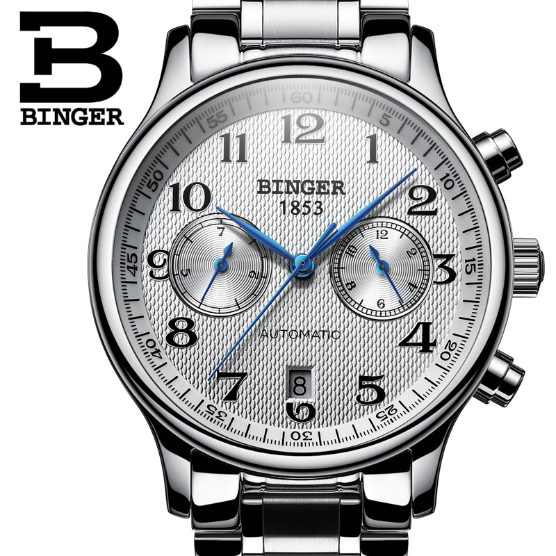 Switzerland Automatic Mechanical Men Watch Sapphire Binger Luxury Brand Watches Male Relogio Waterproof Men's Watches B-603-5 switzerland binger watch men 2017 luxury brand automatic mechanical men s watches sapphire wristwatch male reloj hombre b1176g