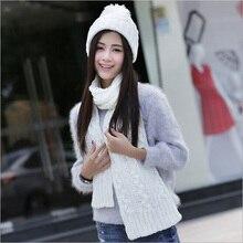 Трикотажные Зимние шапки для женщин шляпа шарф набор из двух частей комплекты новая мода шапка осень капот акриловые шапочка черный SC5512 + 30