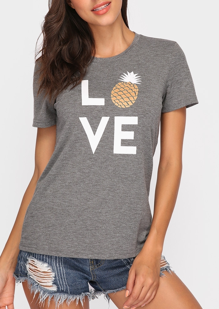 Summer Women T-Shirt Tops Love Pineapple Print Gray Top O-Neck Short Sleeve Casual T shirt Female Tee Ladies 3XL 4