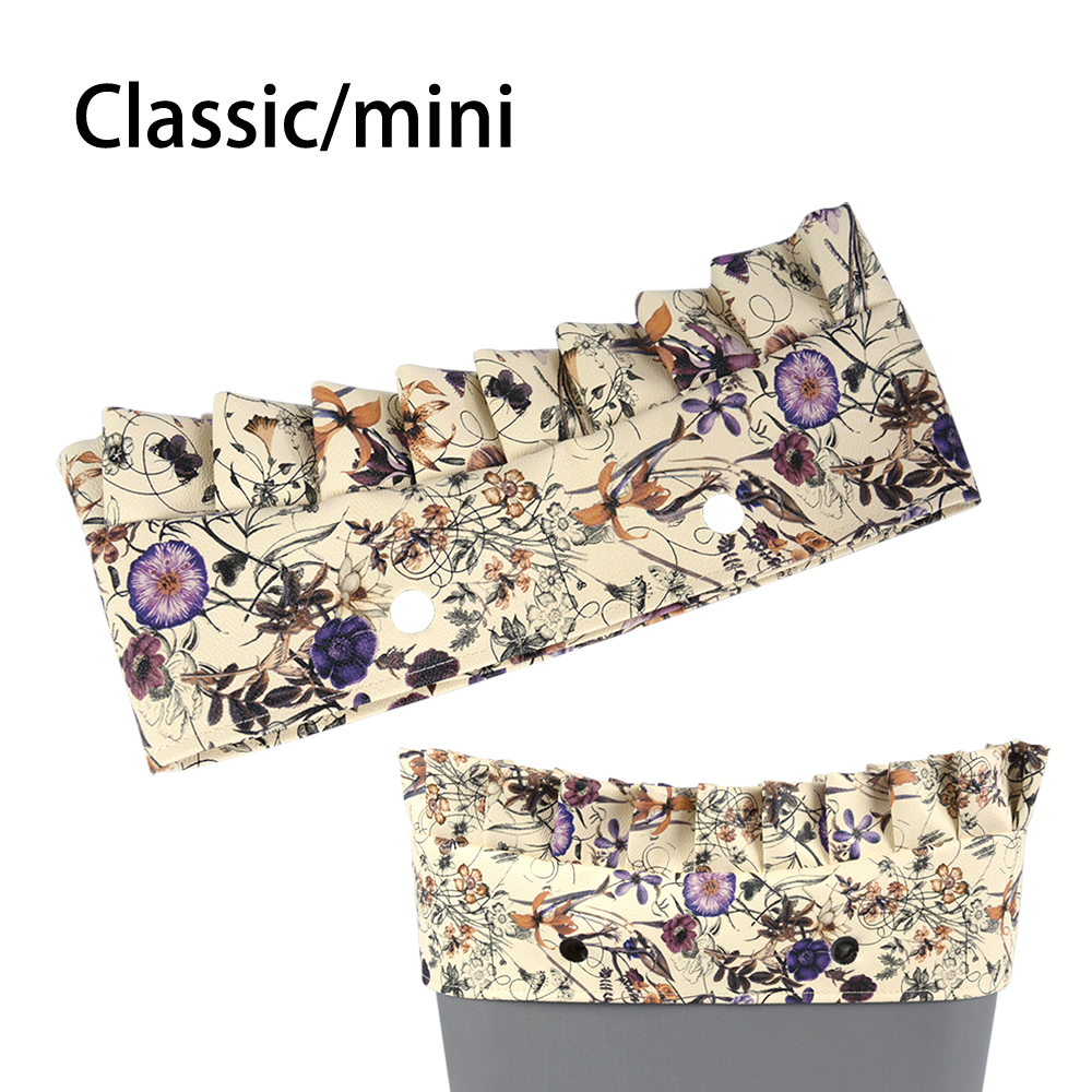 New Classic Mini Flounce Floral Leather Trim For Obag O Bag Accessory
