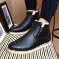 2016 Nueva Moda de Invierno Botines Casuales Para Hombre Caliente de la Felpa Zapatos de cuero de Los Hombres botas de Martin Brown Negro calzado de Trabajo Calzado de Nieve Botas