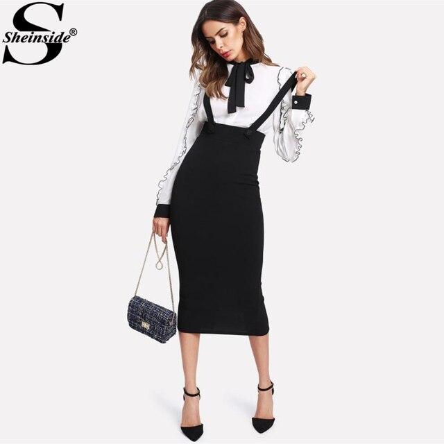 Sheinside High Waist Slit Back Pencil Skirt With Strap Black Knee Length Plain Zipper Skirt Women Elegant Spring Midi Skirt