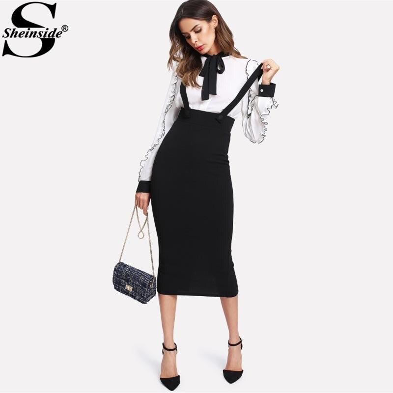 Sheinside de cintura alta hendidura a lápiz falda con correa negro liso por la rodilla cremallera de la falda de las mujeres de primavera elegante Falda Midi