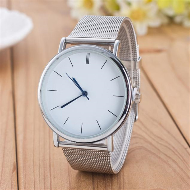 2020 New Fashion Watch Unisex Women Ladies Silver Stainless Steel Mesh Band Silver Wrist Watches Ladies Relogio Dropshipping