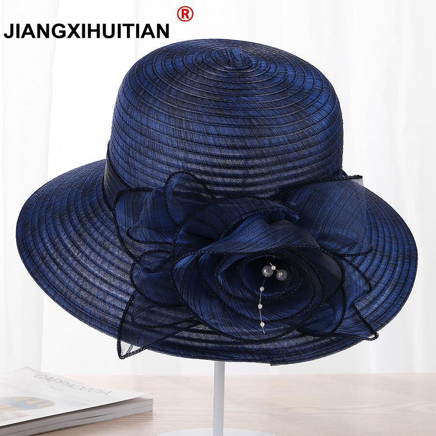 Jiangxihuitian 2018 New Pearls Sun-shading Hat Female Summer Lace Flowers Sun Hat Anti-uv Beach Hat Folding Wide Church Hat