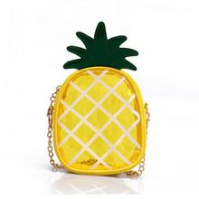 Small Transparent Jelly Package Crossbody Bag Fresh Pineapple Shape Chain Conven