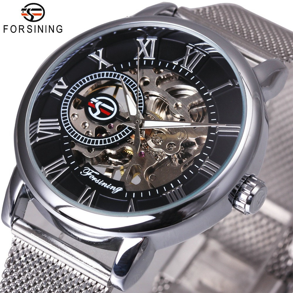 FORSINING Dress Fashion Men Mechanical Watch Mesh Strap Roman Number Skeleton Dial Top Brand Luxury Design Wrist Watches spirituality and climate change