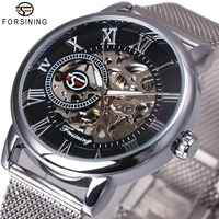 FORSINING Dress Fashion Men Mechanical Watch Mesh Strap Roman Number Skeleton Dial Top Brand Luxury Design