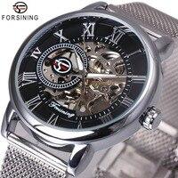 FORSINING Dress Fashion Men Mechanical Watch Mesh Strap Roman Number Skeleton Dial Top Brand Luxury Design
