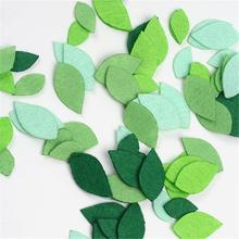 40pcs Non Woven Felt Fabric Spring Leaves Patch 1mm Thickness Polyester Cloth Felts DIY