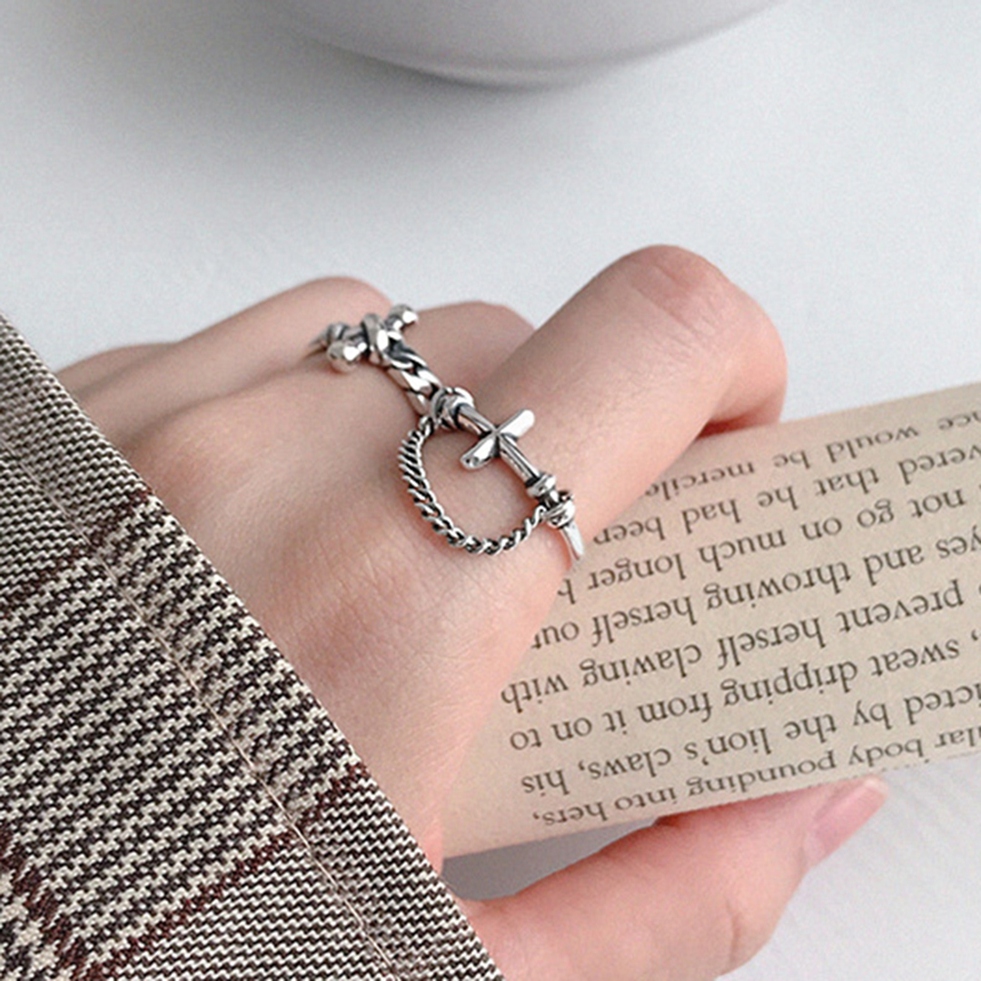 Women Statement Sterling Silver 925 Jewelry Shellhard Punk Retro Cross Cuban Chain Ring Korean Elegant Wedding Band Open Ring in Wedding Bands from Jewelry Accessories