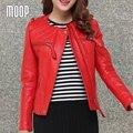 Rojo chaqueta de cuero genuino mujeres de piel de oveja chaquetas de abrigo de cuero corta delgada pour femme veste cuir verdadera abrigos mujer LT176