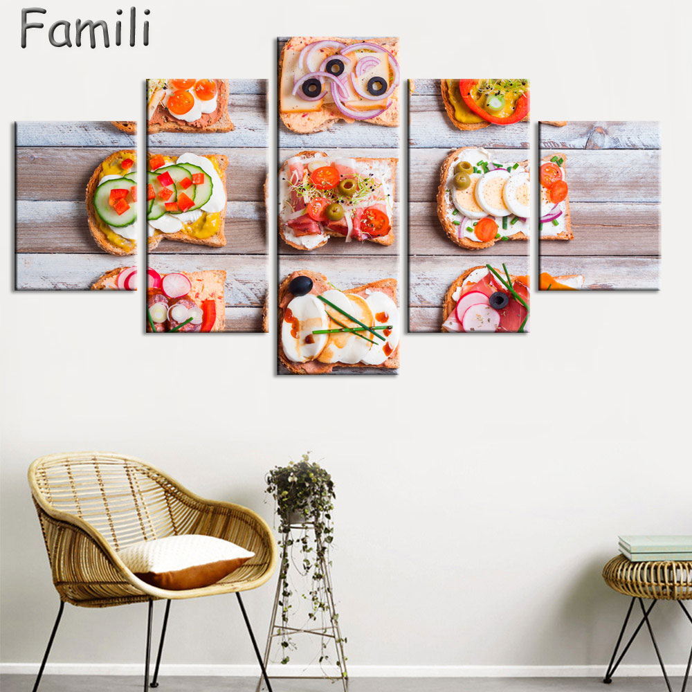 5pcs Chicken Whole Wheat Bread Spices Delicious Food Unframed Canvas Print Room Decor Print Poster Picture Canvas Free Shipping