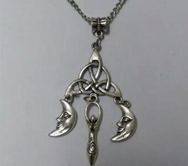Ancient Silver Braided Knot Smiley Moon Witches Fertility Goddess