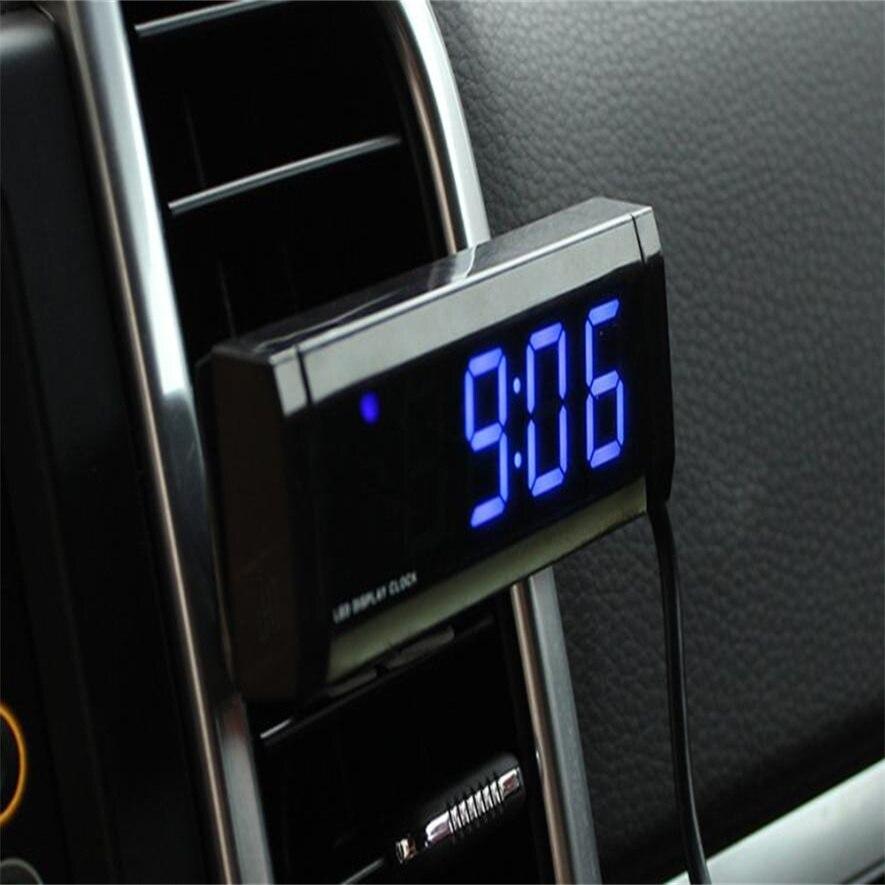 2018 modo caldo di vendita Nuovo Automotive Termometro Elettronico Auto Orologio Tensione LED Blu Nottilucenti molto bello