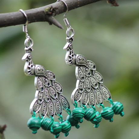 Beautiful Unique Carved Tibetan Silver Pea Hanging Green Malachite Beads Handmade Earrings Original Quality Ethnic Jewelry In Drop From