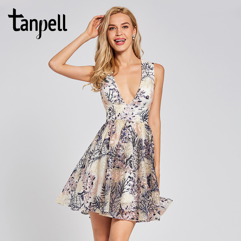 Tanpell embroidery   cocktail     dress   v neck ivory sleeveless above knee a line gown women homecoming party short   cocktail     dresses