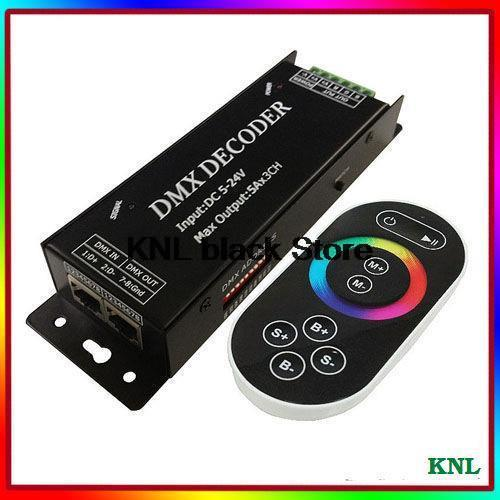 Led DMX signal Decoder, rf touch remote RGB DMX controller, led full color controler, DC5-24V 3 channel, Free Shipping