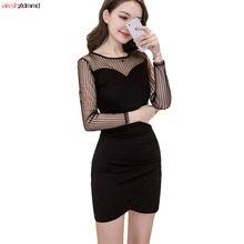 Vestido Sexy mujeres 2018 otoño malla transparente negro mujer Vestido  partido Clubwear Bodycon Mini o-cuello Delgado paquete ca. b6a6bc2b9334