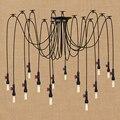 Арт-деко большой паук промышленный Черный винтажный водопровод подвесной светильник Лофт led 14 огней E27 подвесные светильники для дома гости...