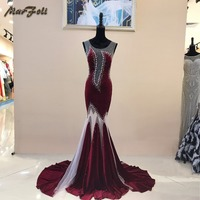 Marfoli Sexy Evening Dress 2017 Floor Length Tulle Sexy Formal Transparent Prom Party Gowns Elegant Long
