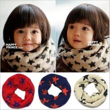 Классический детский хлопковый шарф для мальчиков и девочек, шарф с кольцом, шаль унисекс, Зимний вязаный теплый шарф со звездами и воротником