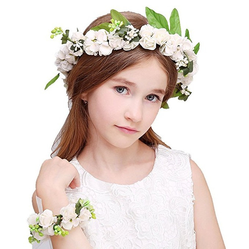 Elegant Festival Hair Ribbon Flower Hair Accessories Artificial Floral Women Girl Wedding Headband Crown Garland Handwrist Sets