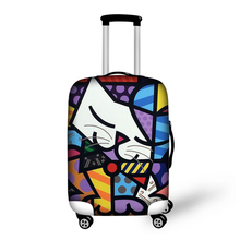 Élastique bagages housse de protection pour 18 – 30 polegada chariot tronc Case Colorful chat Panda tissu extensible voyage valise couvre