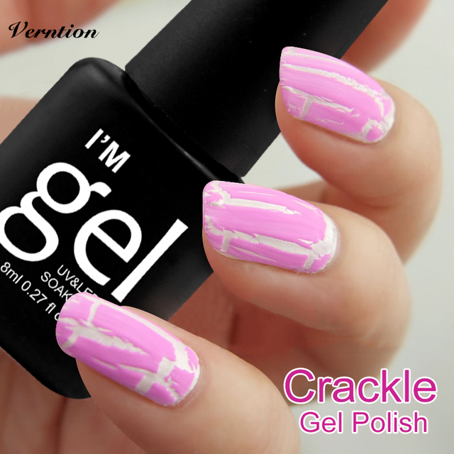 Verntion gorgeous 8ml Cracking Uv Led Nail Polish Shatter Gel Lacquer Primer Soak Off Long Lasting Finish Top Base tools