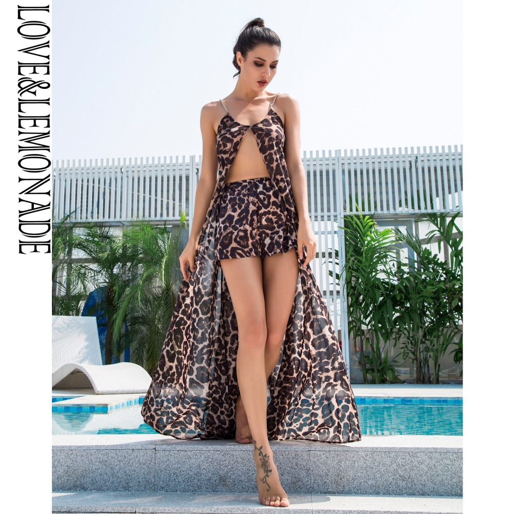 Love&Lemonade  Brown Leopard Pattern Deep V-Neck Chiffon Two-Pieces Beach Sets  LM0920