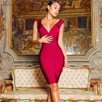 Deer Lady Sexy Bandage Party Dress 2019 New Arrivals Orange V Neck Bodycon Dress Women Sexy Plus Size Club Dresses Wholesale HL