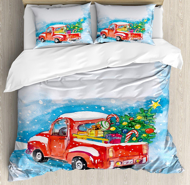 Noël housse de couette ensemble Vintage rouge camion dans la scène d'hiver enneigée avec arbre et cadeaux bonbons canne enfants 4 pièces ensemble de literie
