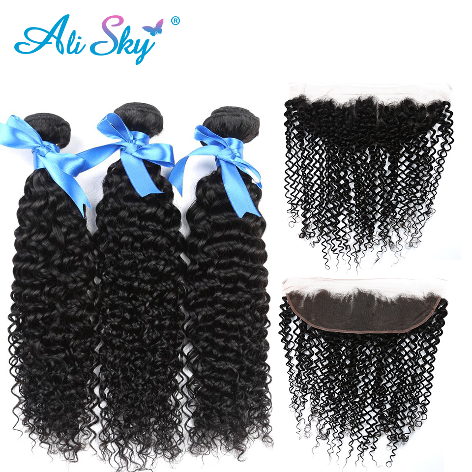 Diplomatic 3 Bundles Peruvian Kinky Curly Remy Hair With 13x4 Lace Frontal Pre Plucked Ear To Ear Lace Closure With Baby Hair Ali Sky Without Return 3/4 Bundles With Closure Human Hair Weaves