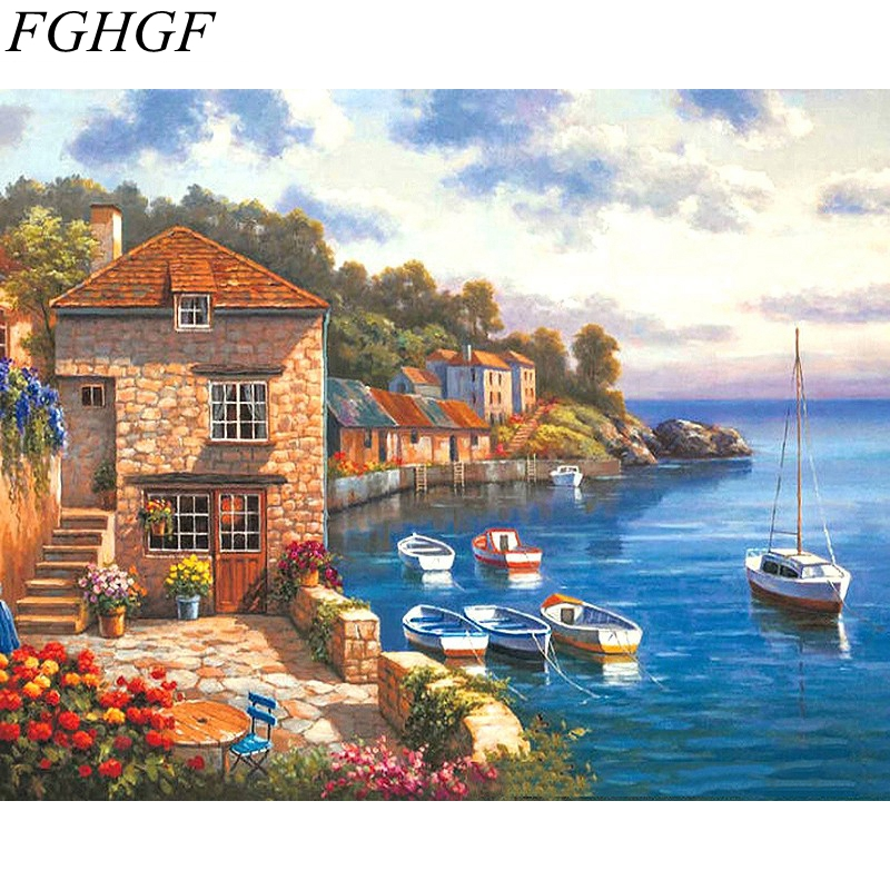 Fghgf frameless paesaggio marino pittura di paesaggio dai for Disegno paesaggio marino