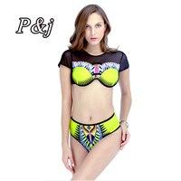 P J 2017 South African Print Sexy Hollow Out Bikini Set Sexy 3 String Thong Black